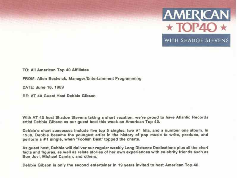 Debbie Gibson Memo: American Top 40 with Casey and Shadoe